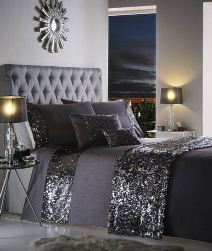 BLACK CHARCOAL NEW STYLISH SEQUIN DUVET QUILT COVER SET LUXURY BEAUTIFUL BEDDING